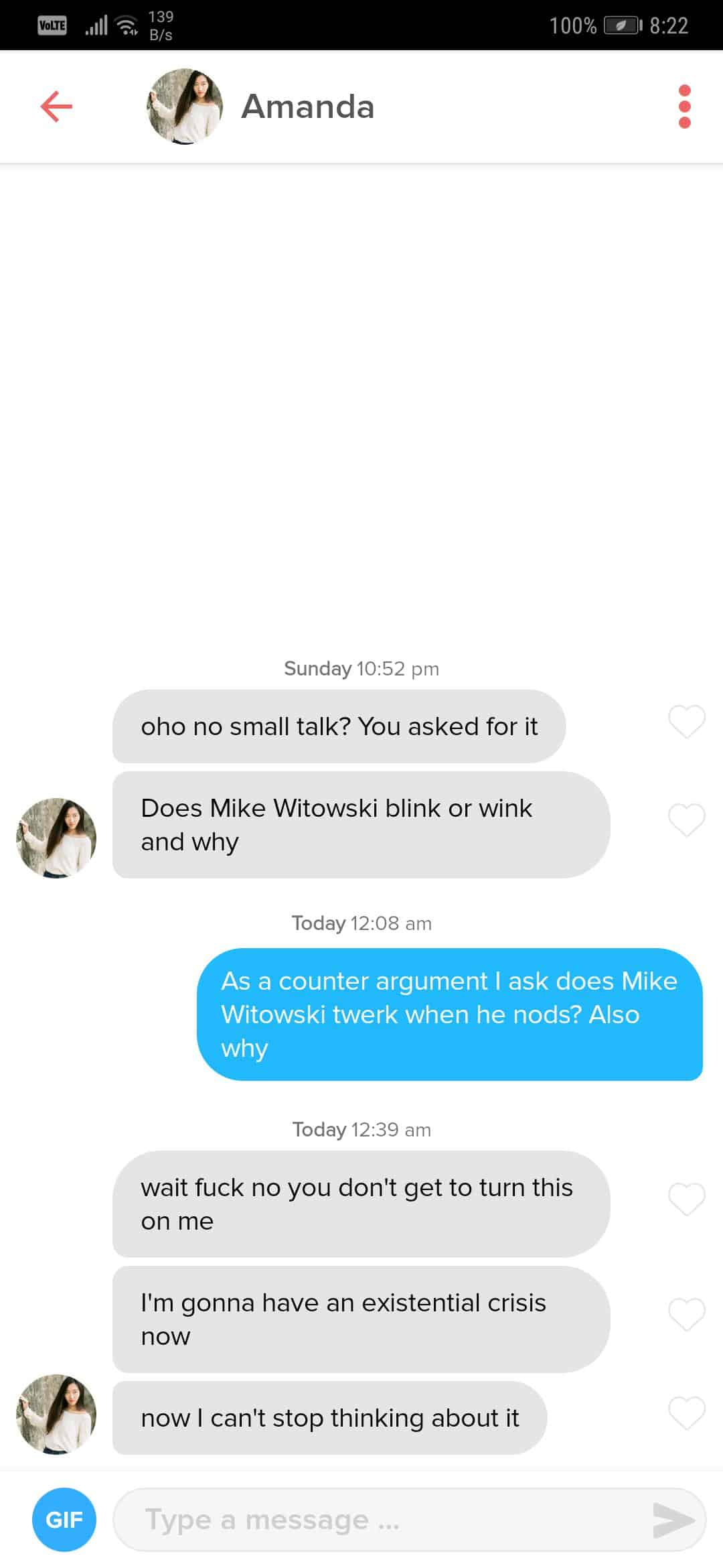 Question Real Example - What to say on Tinder