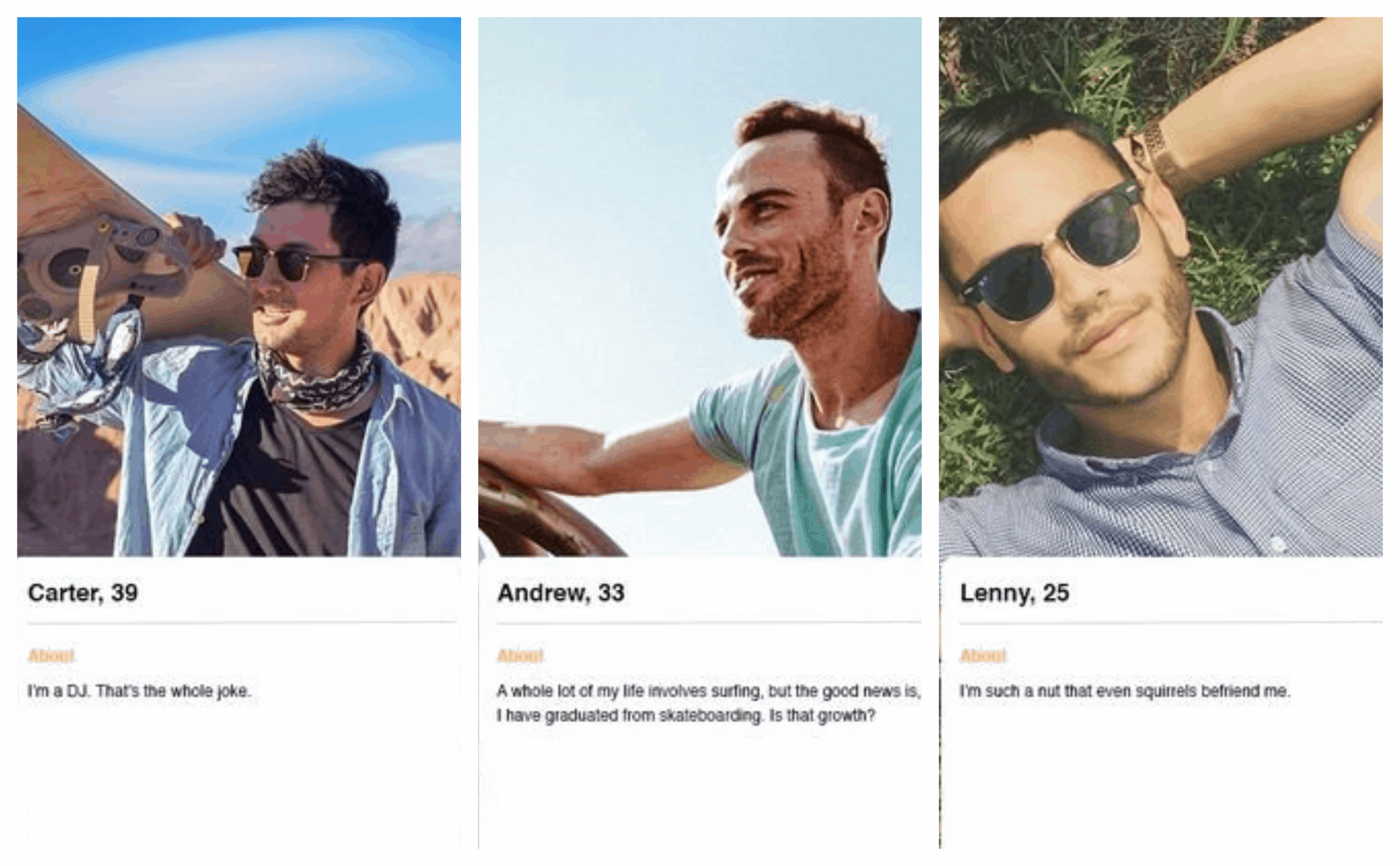 Funny Tinder profile example