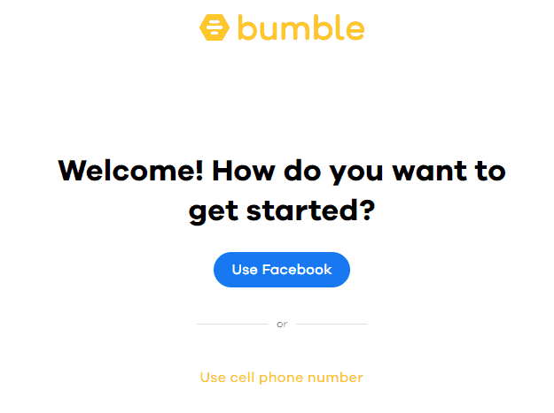 Bumble Sign Up Page