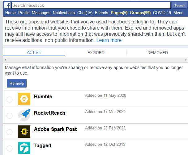 Bumble appears among the apps connected to Facebook. Contact tracing will find it.
